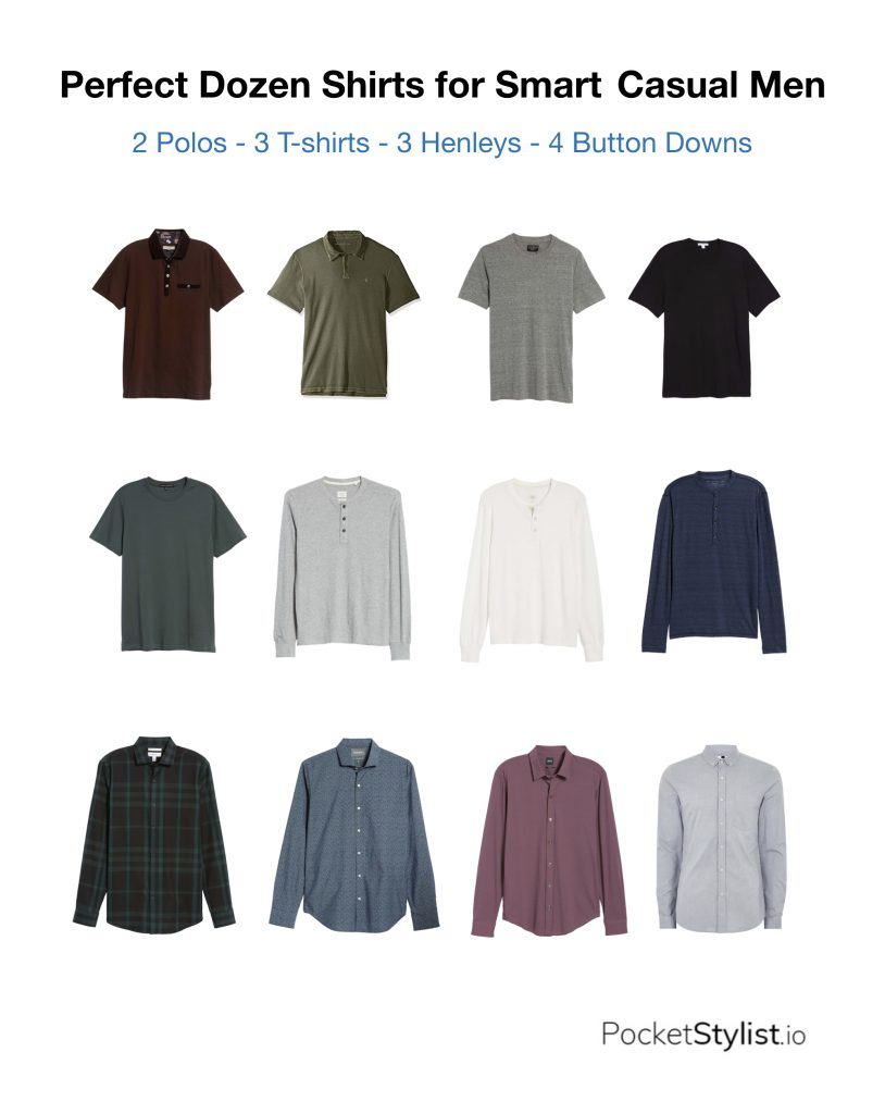 10cb0278cb40 For the average guy, I like to break it up by: 4 button downs, 3 henleys, 2  polo shirts and 3 t-shirts. However, your lifestyle and personal taste  dictates ...