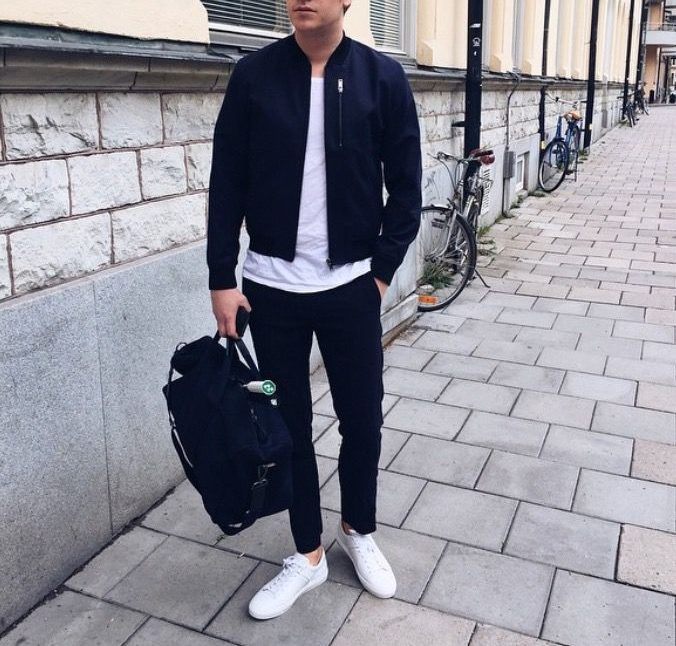mens bomber jacket white sneaker black jeans athleisure look