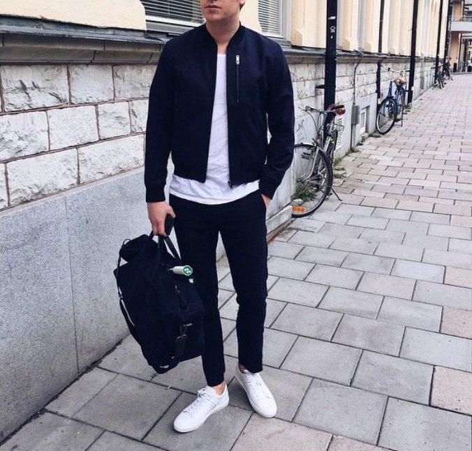mens bomber jacket white sneaker black jeans athleisure look